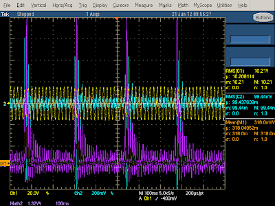 KMS charger line input under shorted load. Yellow is 120V input, cyan is input current. Bottom shows instantaneous power. Note the 'hiccup' shutdown and restart every 250 milliseconds.