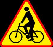 A-24: Znak ostrzega przed miejscem, w którym rowerzyści wyjeżdżają z drogi dla rowerów.