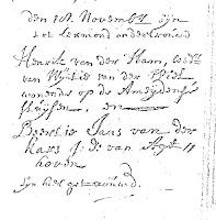 Ham, Hendrik van der en Kars, Beertje Jans van der Ondertrouw 18-11-1713.jpg