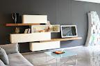 mobile da soggiorno Lago modello 36e8 con mensole legno wildwood, elementi a ribalta e cassettoni
