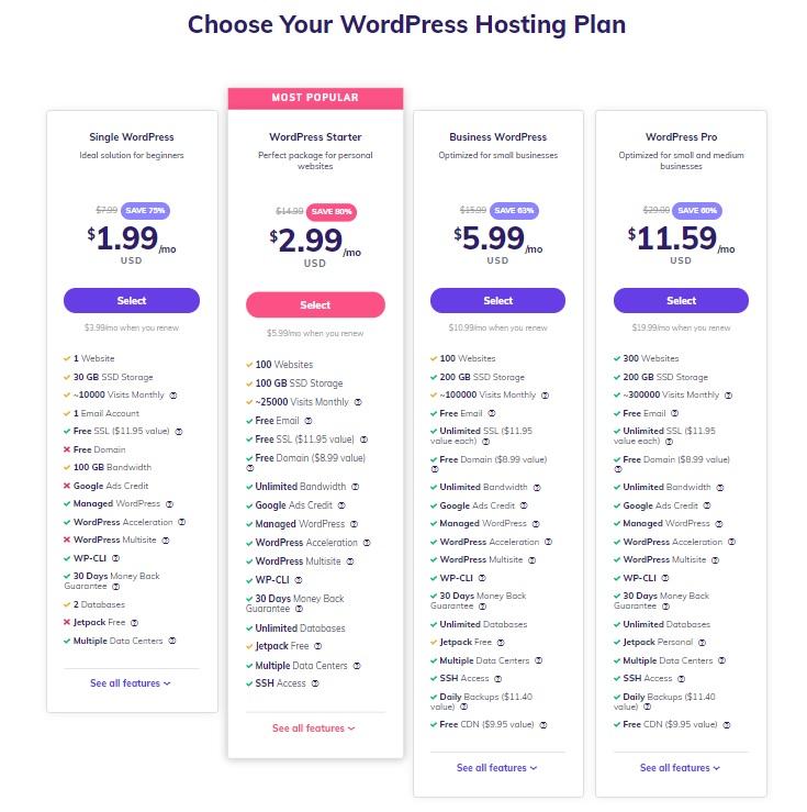 Hostinger shared hosting plan