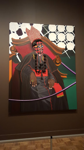 Exhibit A: Cardinal Francis Arinze. Jeff Sonhouse, 2005, oil and mixed media on wooden panel. From Love, Change, and the Expression of Thought: 30 Americans at the Detroit Institute of Arts