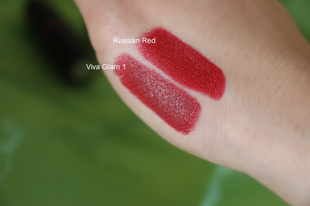 MAC Cosmetics Matte lipsticks in Viva Glam 1 & Russian Red Swatches Review - UK London Beauty Blogger Makeup Artist The Burn Out Brand