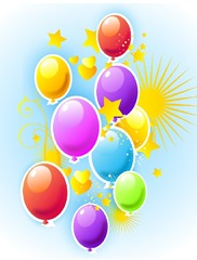 balloons and stars clip art