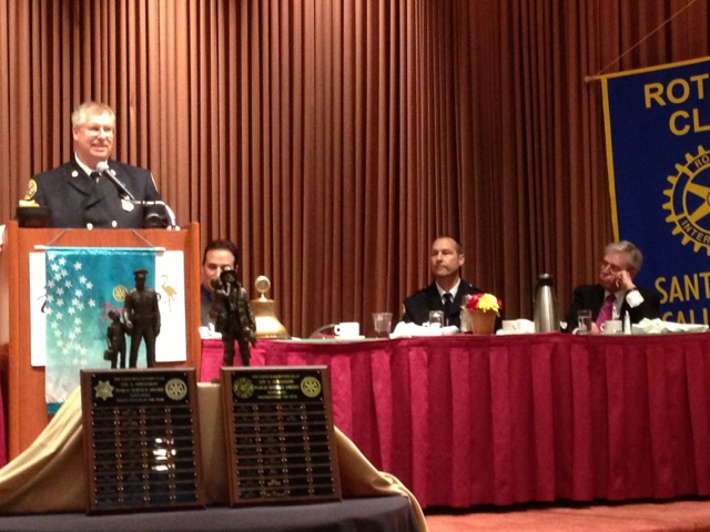 SR Fire Chief Mark McCormick addresses the group as Firefighter of the Year 2012 Ron Schull looks on