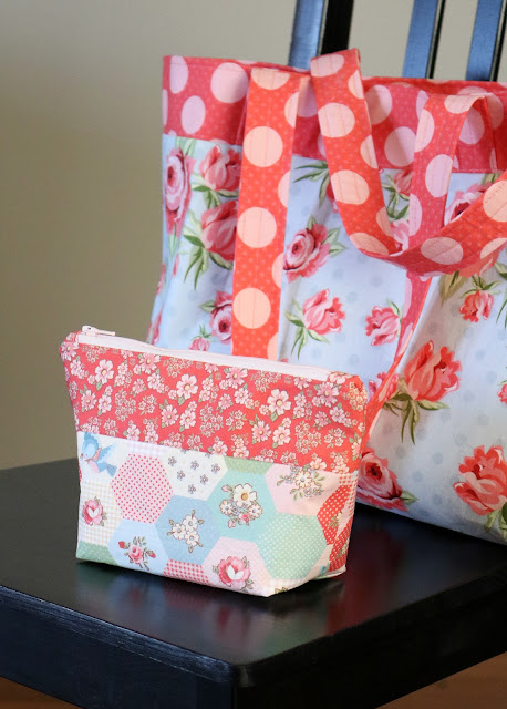 Project bags made using Dots and Posies fabric from Poppie Cotton - found on A Bright Corner blog with links to tutorials