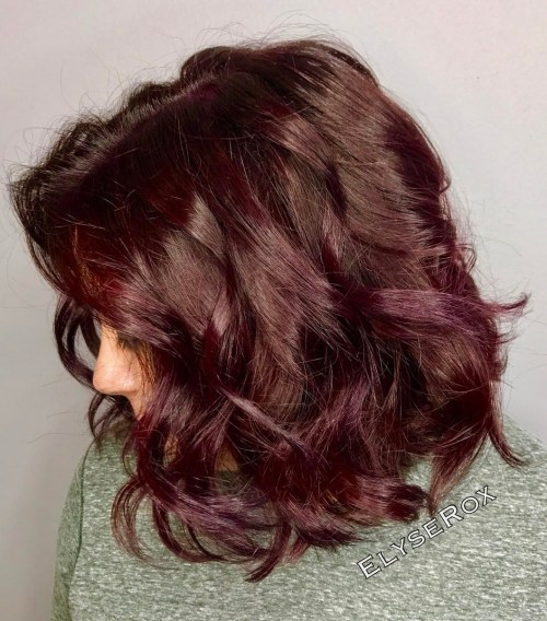 Plum hair color a beautiful contrast for woman 2018 6