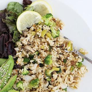 Healthy Mushroom Broccoli Pepper Rice.