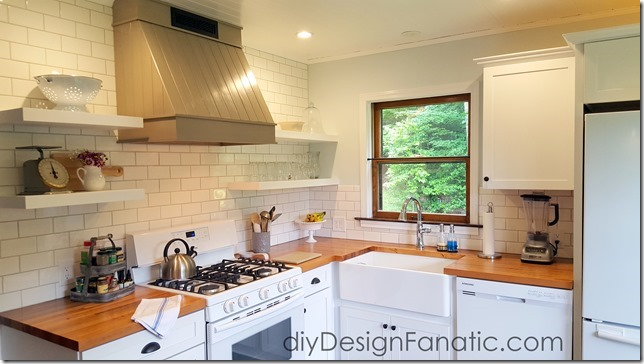rustic wood hood, mountain cottage kitchen reno, farmhouse style, cottage style, open shelves, custom range hood, diy Design Fanatic