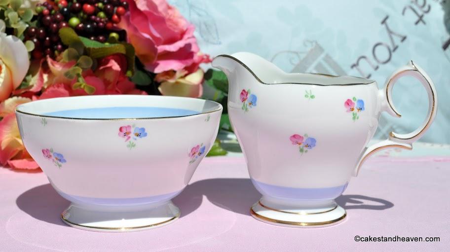 Bell China 1940s Blue and Pink Milk Jug & Sugar Bowl