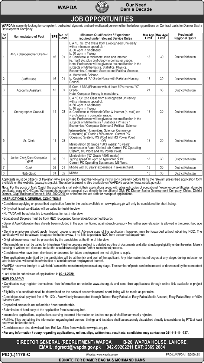 WAPDA Jobs October 2020