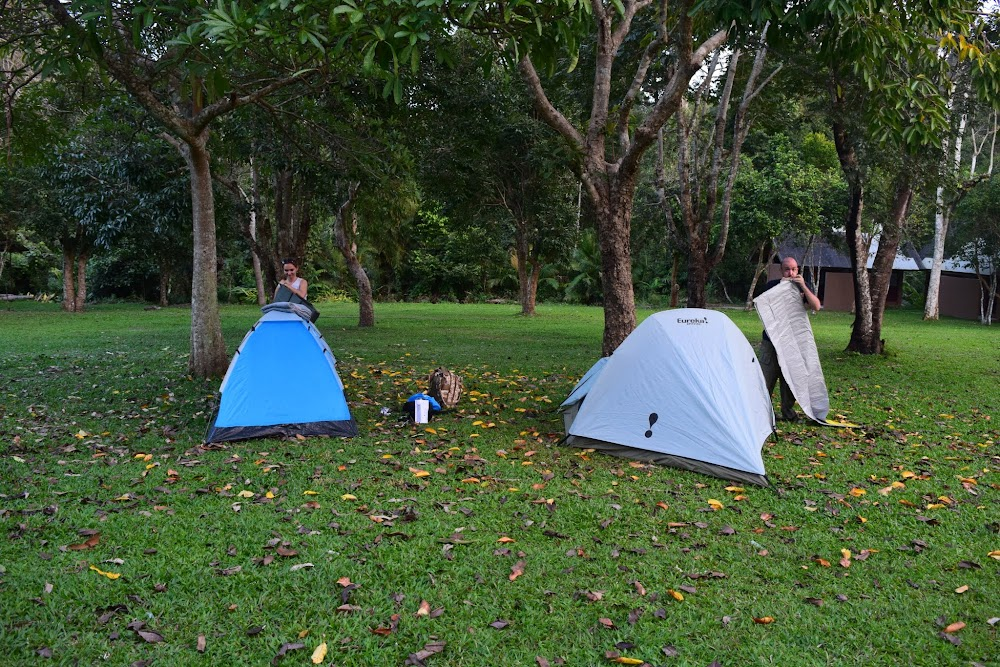 After a nice day of hiking and waterfall-spotting, we finally get back to the Pha Kluai Mai campsite, where we will stay for tonight.  We set up our tents...