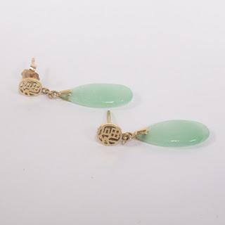 14K Gold and Jade Pendant Earrings