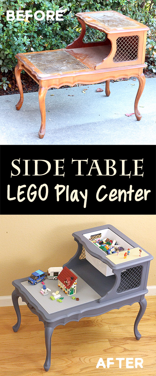 A lego play center with brick and instruction book storage along with two levels of play areas.  A great way to transform a on end table!