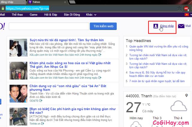 Vào trang login Yahoo