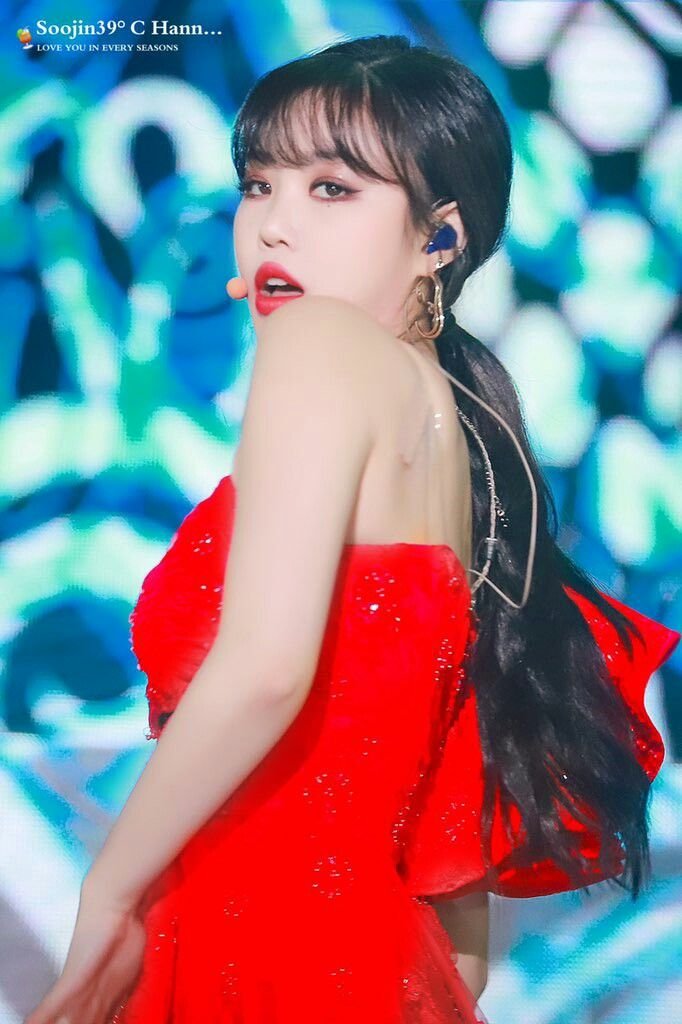 sparkle red dress soojin
