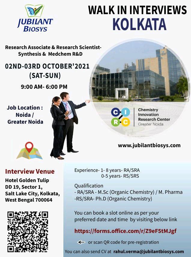 Walk-in For Research Associate In API R&D At Jubilant Biosys