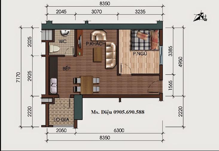 phối cảnh căn hộ 45m2 tại HH3 Linh đàm