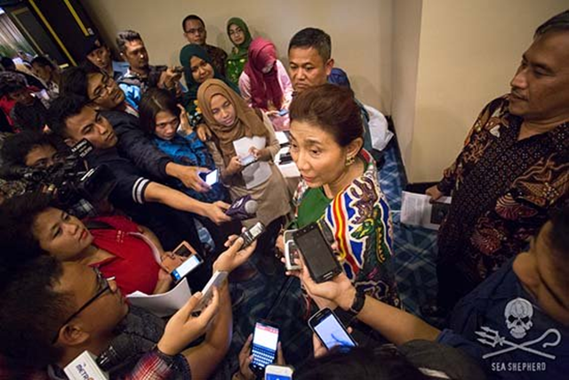 Indonesian Fisheries Minister, Susi Pudjiastuti, vows to sink the toothfish poaching vessel, the Viking, for its crimes. Photo: Tim Watters / Sea Shepherd