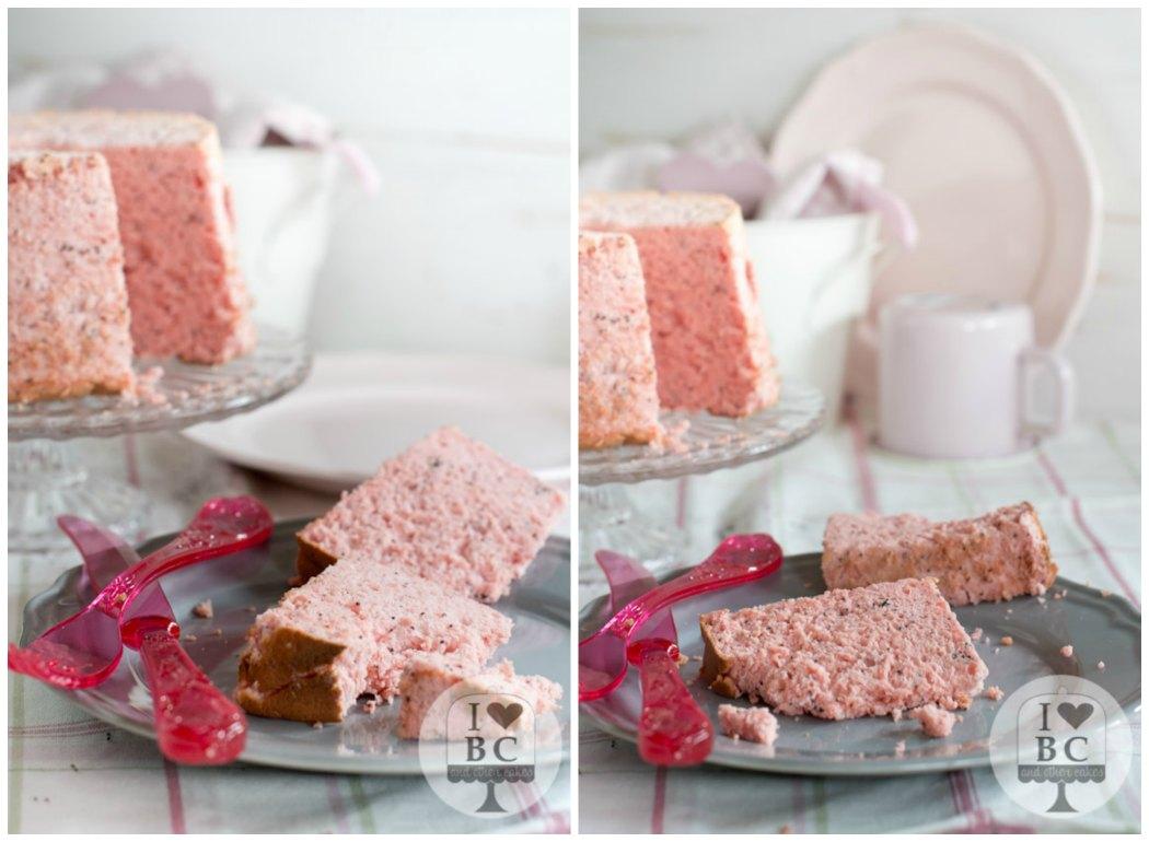 Angel Food Cake de fresa con semillas de amapola sin gluten