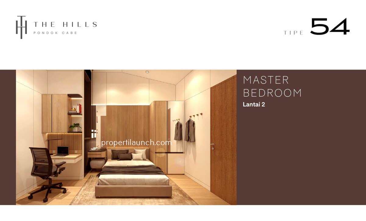 Interior Desain Kamar Tidur Utama Rumah The Hills Pondok Cabe Tipe 54