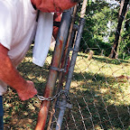 Owen places a lock on the gate that is supposed to not rust.  Cost $13.00 bucks!