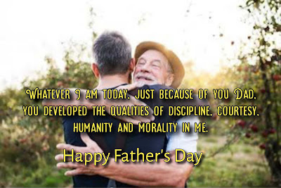 Old father hugging his son, Father's day message.