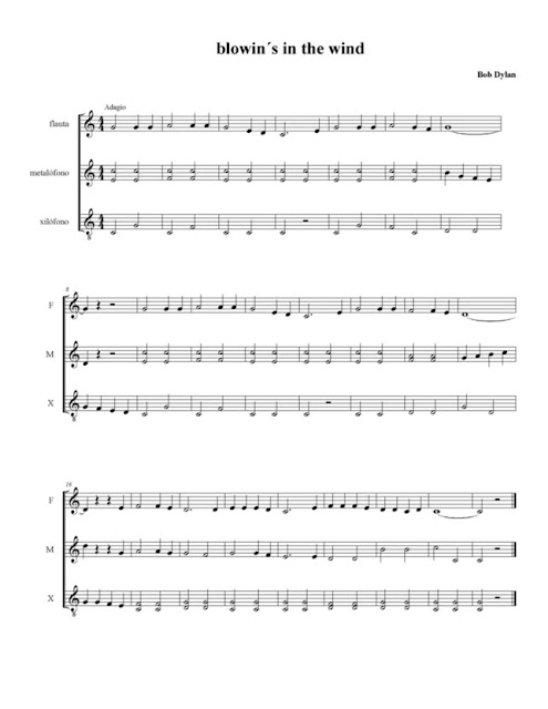Partitura de Blowin in the Wind para Instrumentos de Placa como Xilófonos Metalófonos y Flauta