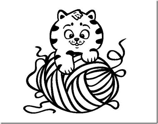 colorear dibujo gato con ovillo