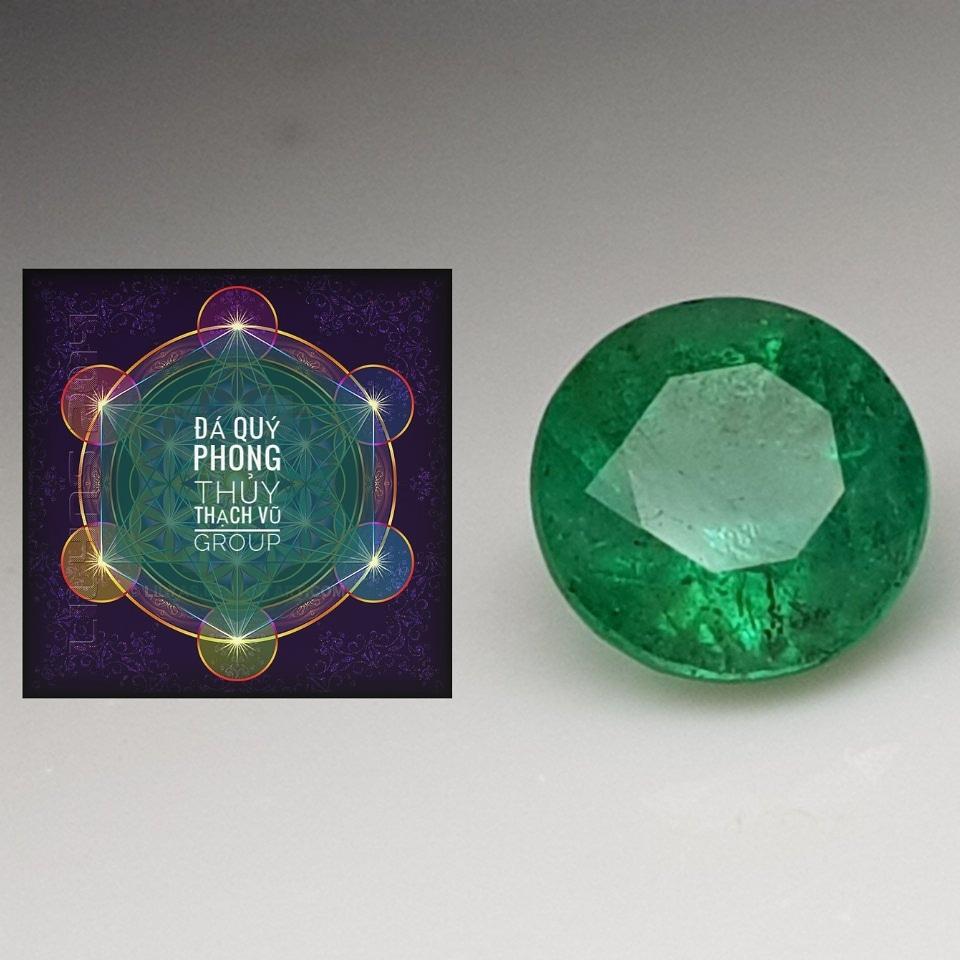 Đá Ngọc Lục Bảo thiên nhiên, Natural Emerald Colombia tròn 8.5li