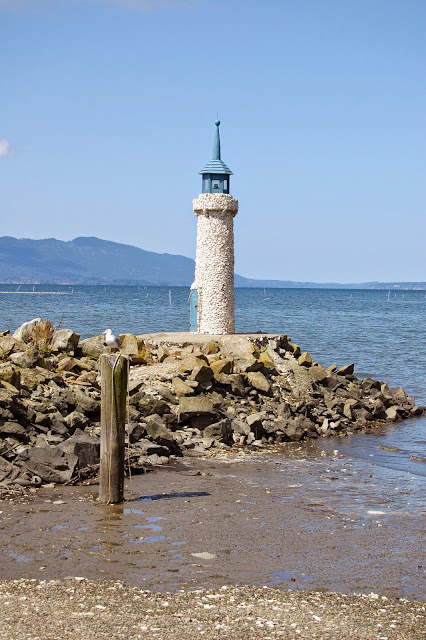 The shell-covered lighthouse at Taylor Shellfish Farm. / Credit: Bellingham Whatcom County Tourism