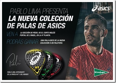 Pablo Lima presentará la Colección de Palas ASICS en Barcelona. J9 Junio 2016.
