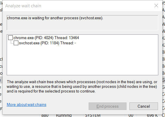 chrome is waiting for another process svchost exe
