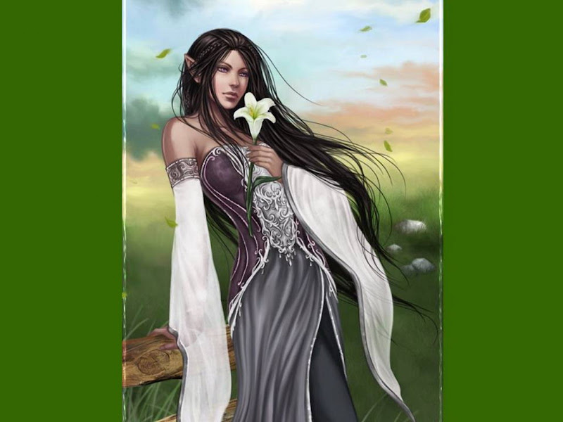 Elf Girl And White Flower, Elven Girls 2