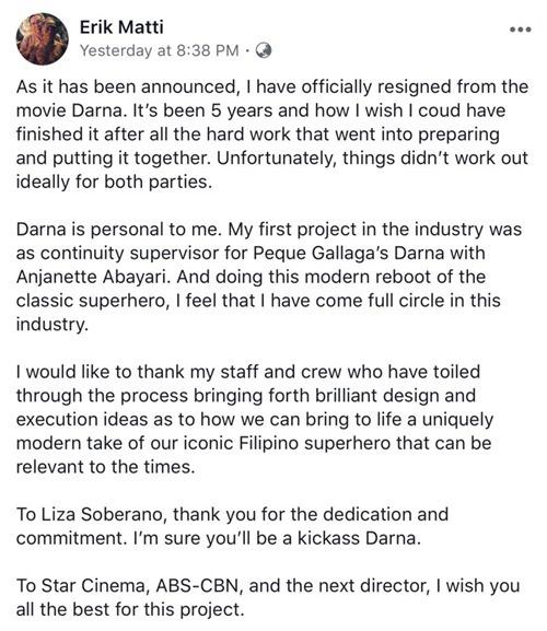 Erik Matti's statement on Darna