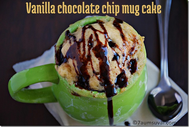 Vanilla choco chip mug cake
