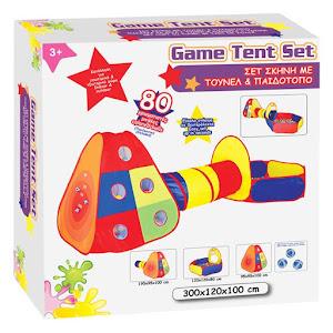 Centru de joaca cu tunel, cort si piscina cu bile, 300x120x100 cm