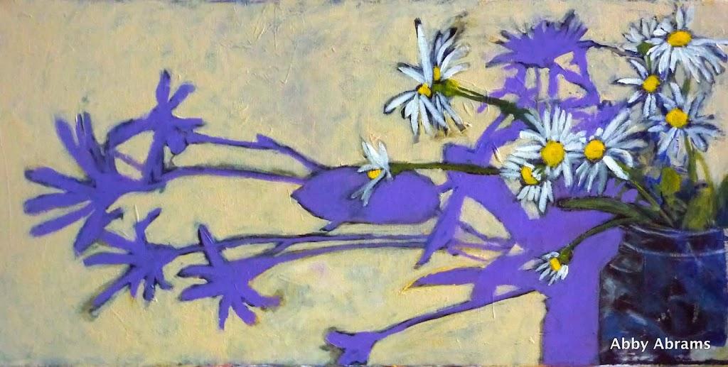 horizonal daisies, 12inx24in SOLD