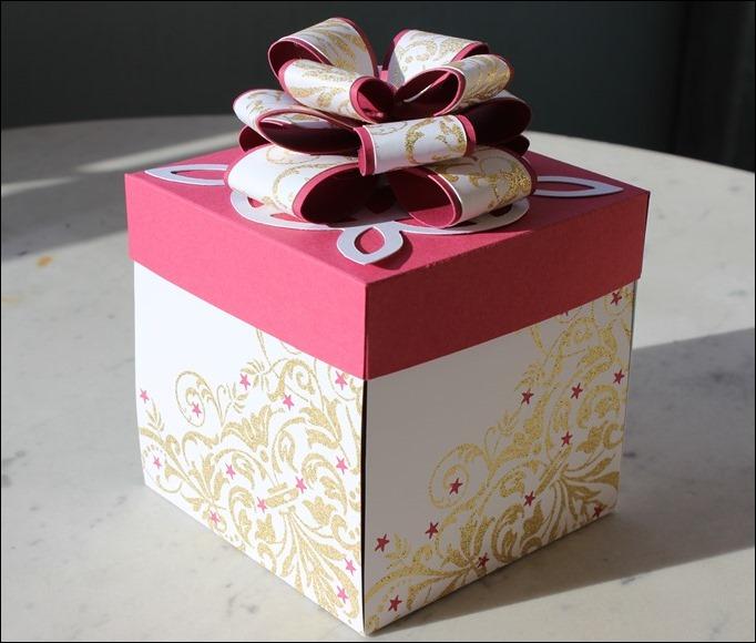 Explosion Box Weihnachten Christmas Gold Glitzer Karussell Stampin Up Zum Nachwuchs Weihnachtsschlitten 00