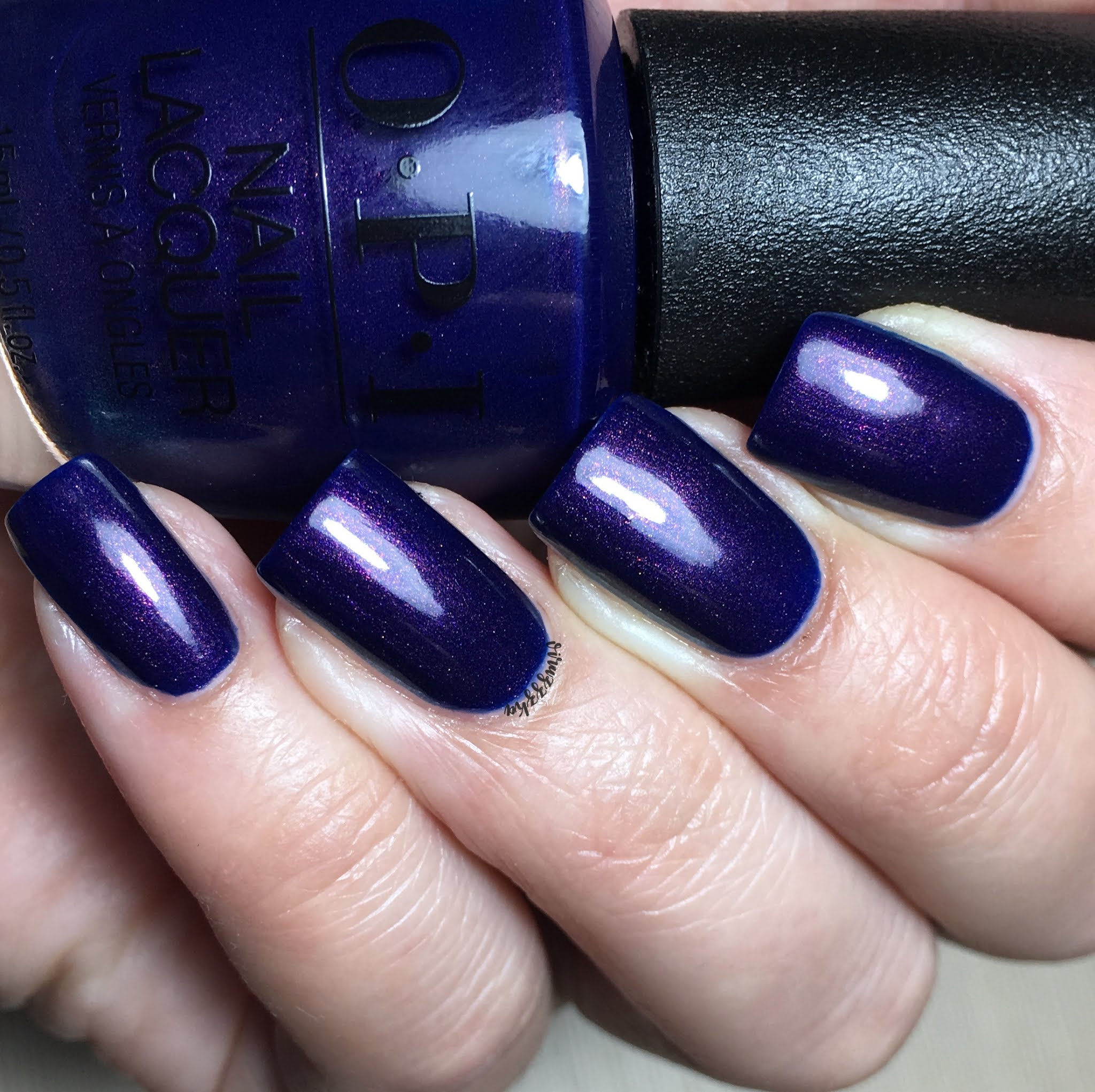 OPI Turn On the Northern Lights! Nail Swatch Autumn Blue Manicure Review