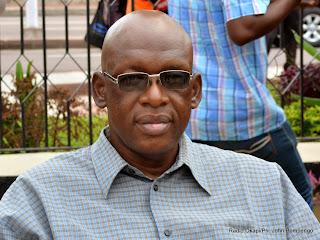 Christopher Ngoyi, activiste de droits de l'homme le 10/02/2015 au ministère de l'Intérieur à Kinshasa lors de sa présentation à la presse par la police judiciaire. Radio Okapi/Ph. John Bompengo