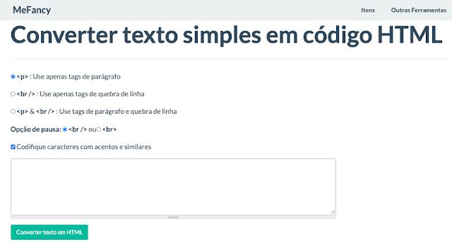 Ferramenta online para converter texto simples em código HTML