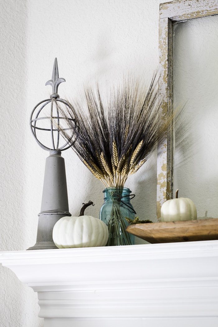 aqua colors for a fall mantel
