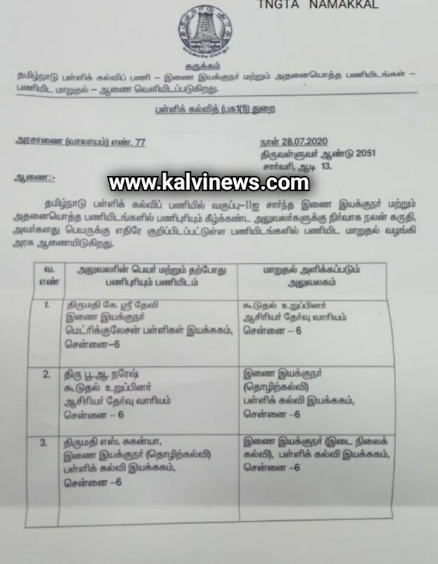 4 Join Directors Transferred - G.O Published ( G.O - 77 : Date 28.07.2020 )