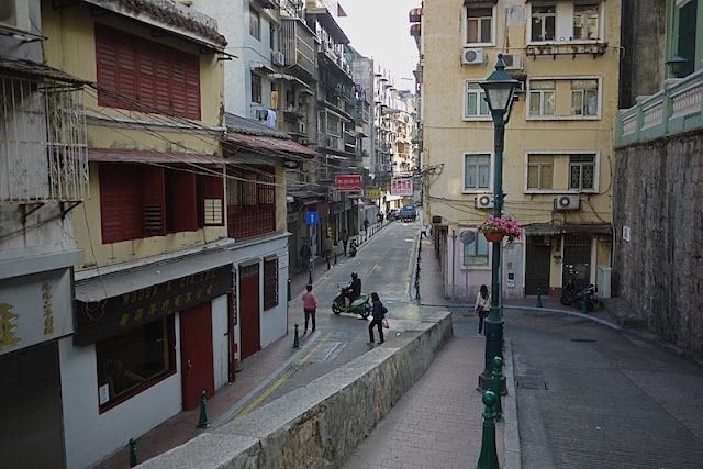 intersection of narrow streets in Macau