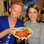 matt & heather trying okinawa spam in Ikebukuro, Tokyo, Japan
