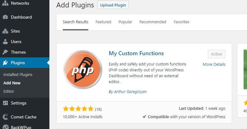 WordPress Add New Plugin My Custom Functions