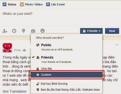 Cập nhật status facebook chỉ cho một vài người xem 2