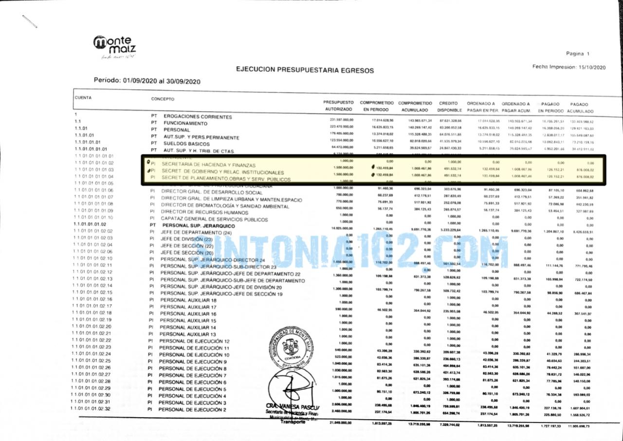 Documentación que indica el Pago de Sueldo Básico a Secretarias, esta seleccionado en amarillo