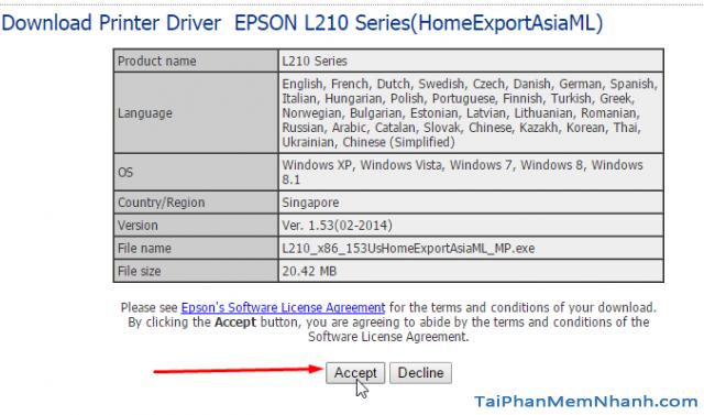 Nhấn vào Accept để tải driver epson L210